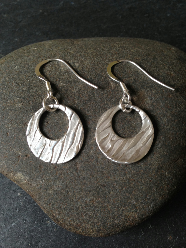 Zebra print round silver earrings