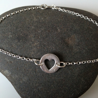 Heart cut out link silver bracelet