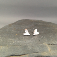 Fine silver small wonky heart studs