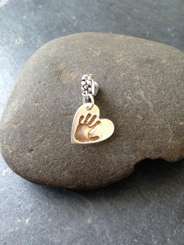Personal touch hand or footprint charm on carrier - 1 of your loved ones prints
