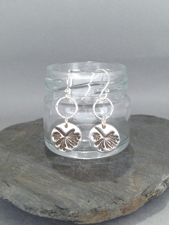 Dandelion and flower earrings set on silver hoops