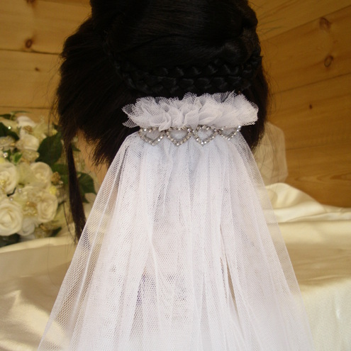 Short white one teir veil.