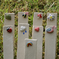 Ladybird garden plant markers easy to write on reusable labels