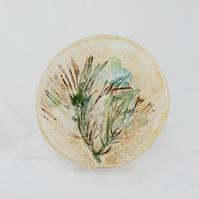 SALE - Pine Impressed Stoneware Ceramic Coaster with Recycled Glass