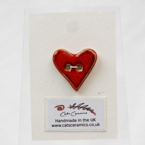 Love Heart Bright Red Stoneware Ceramic Button