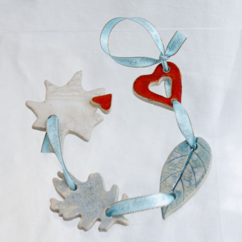 Ceramic Christmas Dangly Leaves and Hearts
