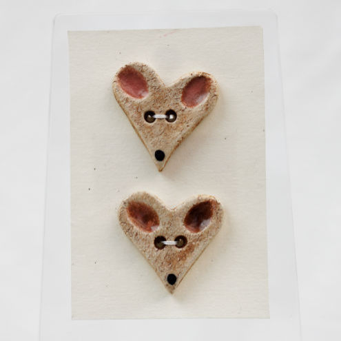 Clay Heart Button - Mouses pair