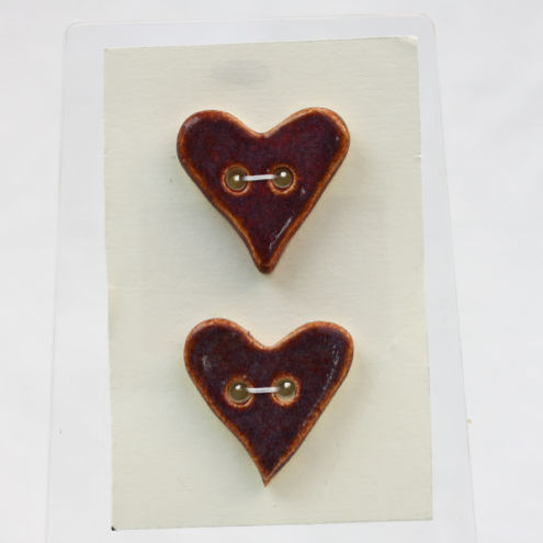 Valentines Gift Deep Purple Ceramic Heart Buttons Duo