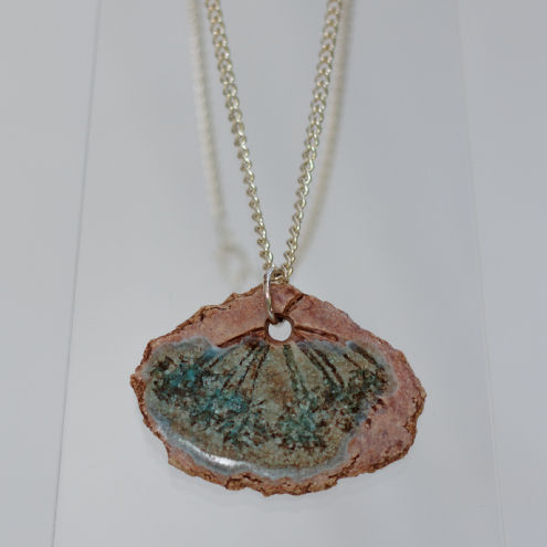 Ceramic pendant necklace with recycled turquoise glass