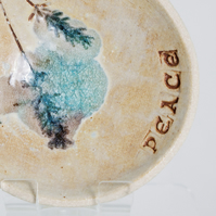 Floral Peace Pottery Dish Ring Bowl