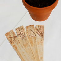 Ceramic Plant Markers Rustic Herb Labels with leaf portraits, Flower Name Tags
