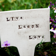 SALE - Ceramic Stake Sign Live Laugh Love Outdoor Garden Decoration Handmade