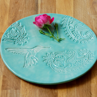 Turquoise Ceramic Plate Hummingbird  Paisley Table Ware Dinner Ware