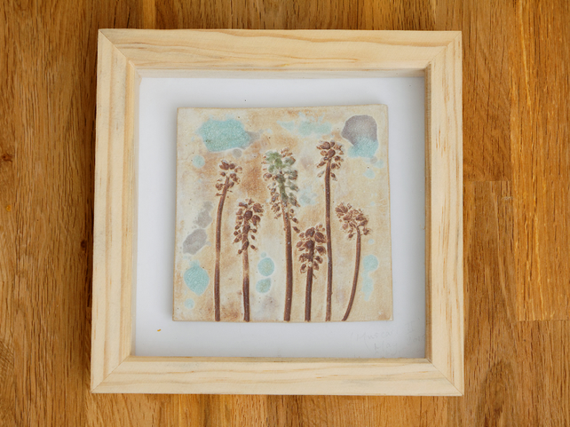 Unique Ceramic Tile Panel Pottery Picture Framed Wall Art Hanging