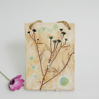 Decorative Floral Panel Ceramic Wall Hanging Botanical Pottery Recycled Glass