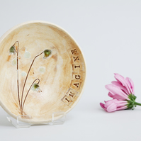 Modern Ceramics Pottery Bowl Botanical Wild Flowers Floral Ceramic Dish