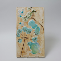 Stoneware Ceramics Floral Tile Wall Panel Unique Pottery Art