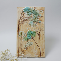 Floral Tile Ceramic Wall Hanging Botanical Pottery Picture