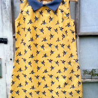 Yellow Bird Shift Dress made to order - choose your size!
