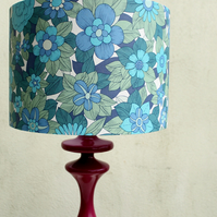 Vintage Wallpaper Lampshade Blue (large)