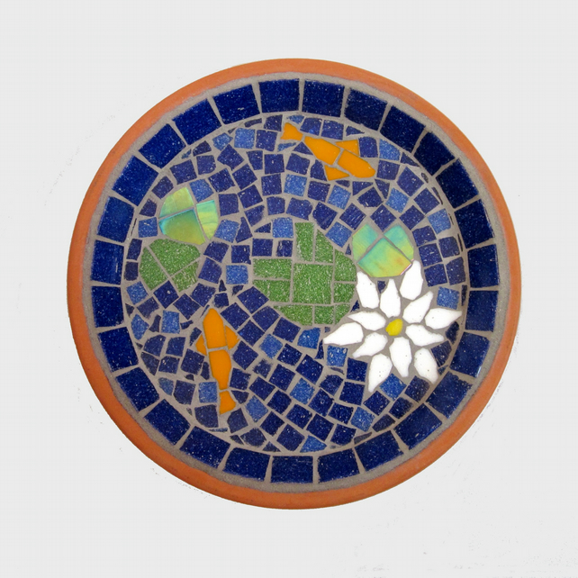 White Water Lily Pond Mosaic Garden Bird Bath