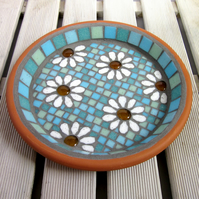 Pastel White Daisy Flower Mosaic Garden Bird Bath Ornament