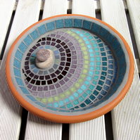 Heather Ripple Mosaic Bird Bath