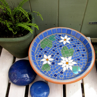White Water Lily Mosaic Bird Bath