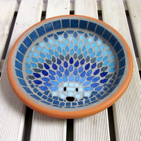 Moonlight Hedgehog Mosaic Garden Bird Bath