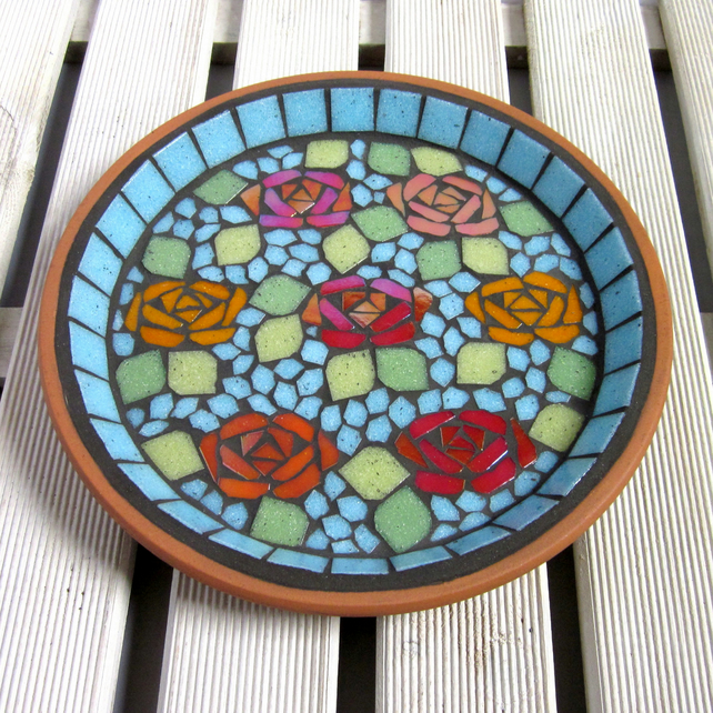 Canal Folk Art Mosaic Garden Bird Bath