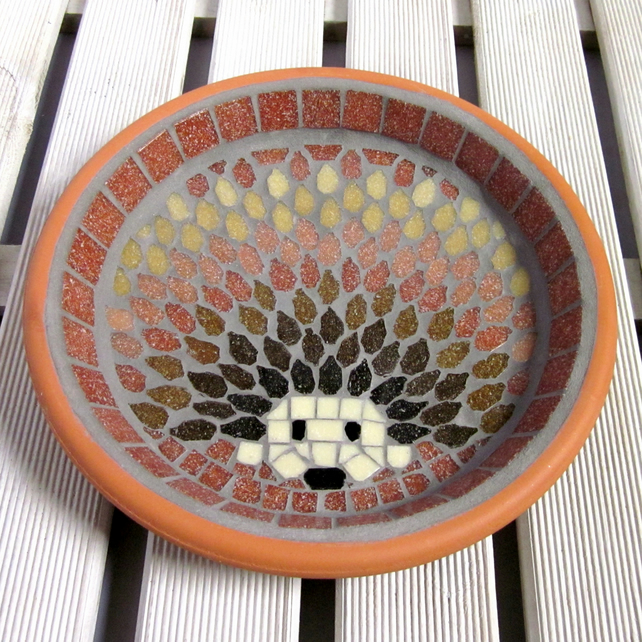 Mosaic Bird Bath Harvest Hedgehog