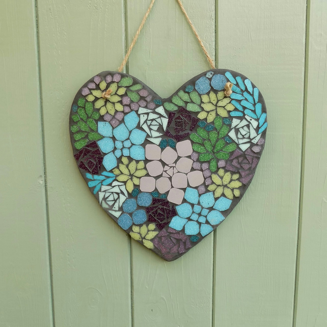 Mosaic Succulent Hanging Heart Decoration