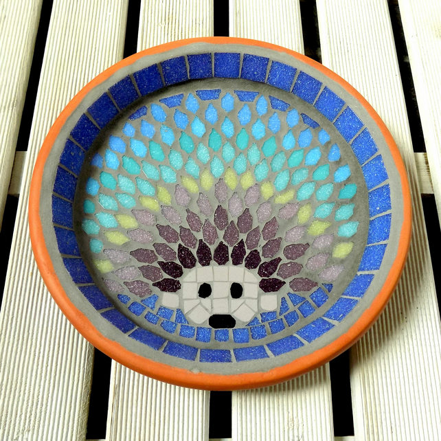 Rainbow Hedgehog Mosaic Garden Bird Bath
