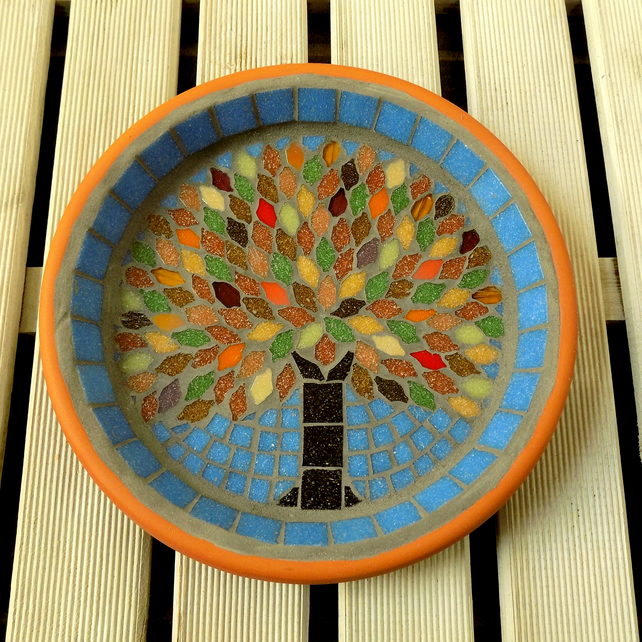 Autumn Jewel Tree Mosaic Garden Bird Bath