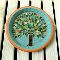 Summer Jewel Tree Mosaic Garden Bird Bath