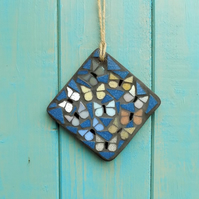 Night Sky Moths Mosaic Hanging Garden Decoration