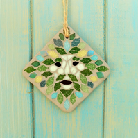 Mini Green Man Mosaic Hanging Garden Decoration
