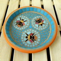 Three Bees Blue Mosaic Bird Bath
