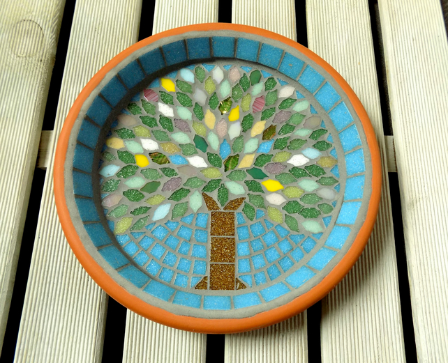 Spring Jewel Tree Mosaic Garden Bird Bath