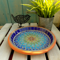 Gypsy Rainbow Mosaic Garden Bird Bath