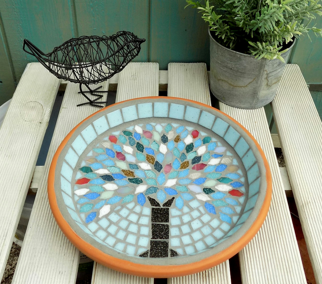 Winter Jewel Tree Mosaic Garden Bird Bath