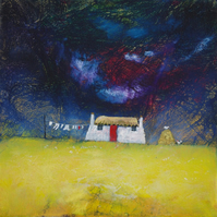 The Red Sock, thatched cottage print