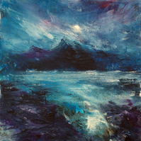 Frozen Moonlight Scottish seascape giclee print
