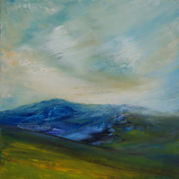Hawes Blue, English mountain landscape print