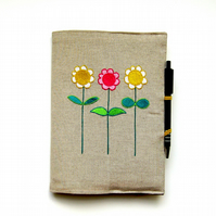 A5 Notebook and pen, reusable personalised cover, embroidered flowers on linen