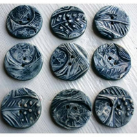 5 Ceramic buttons - inky blue eggs and feather buttons