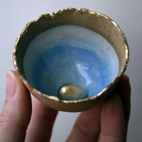 Tiny golden egg bowl-handmade ceramic bowl-magpie nest bowl