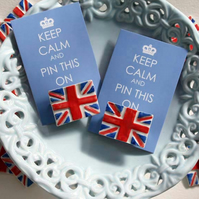 Handmade Union jack brooch - Keep calm - British flag brooch - Jubilee