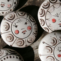 Ceramic brooches - angel face in porcelain brown, red and white