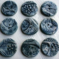 Handmade Ceramic buttons - inky blue eggs and feather buttons